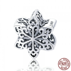 Genuine 925 Sterling Silver Elegant Snowflake Openwork Beads fit Women Charm Bracelets & Necklace DIY Jewelry SCC719