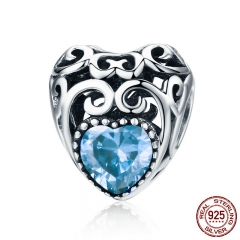 100% 925 Sterling Silver Leaves Wave Heart Light Blue AAA Zircon Beads fit Charm Bracelet DIY Jewelry Making SCC573-3