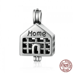100% 925 Sterling Silver Sweet Home House Cage Pendant Fit Chain Necklaces for Women Authentic Silver Jewelry SCP006