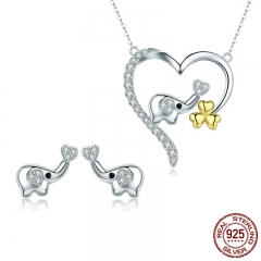 High Quality 100% 925 Sterling Silver Elephant Cute Animal Earrings Necklace Jewelry Set Sterling Silver Jewelry ZHS064