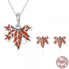 Authentic 100% 925 Sterling Silver Autumn Maple Tree Leaves Necklace Earrings Jewelry Set Sterling Silver Jewelry Gift