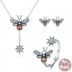Genuine 100% 925 Sterling Silver Luminous CZ Insect Collection Bee Women Jewelry Set Sterling Silver Jewelry Gift ZHS056