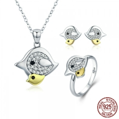 Genuine 100% 925 Sterling Silver Lovely Mother Bird with Kids Mother Love Jewelry Set Sterling Silver Jewelry Gift ZHS058