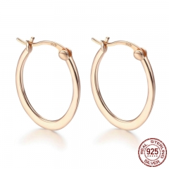 Authentic 925 Sterling Silver Classic Round Circle Big Hoop Earrings for Women Sterling Silver Earrings Jewelry SCE478