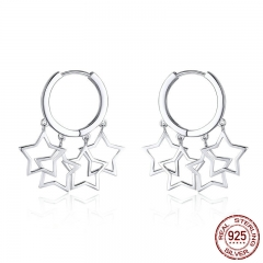 100% 925 Sterling Silver Round Circle Shimmering Star Exquisite Stud Earrings for Women Fashion Earrings Jewelry SCE481