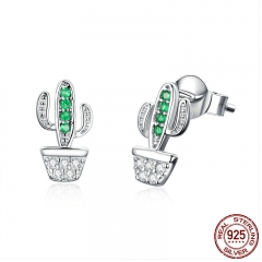 Genuine 925 Sterling Silver Green Cactus Plant Fashion Stud Earrings for Women Clear Cubic Zircon Jewelry SCE522