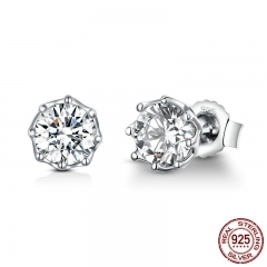 Authentic 925 Sterling Silver Classic Clear Cubic Zircon Small Stud Earrings for Women Sterling Silver Jewelry SCE499