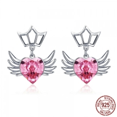 Authentic 925 Sterling Silver Dream Wings Pink Heart CZ Exquisite Stud Earrings for Women Sterling Silver Jewelry SCE505