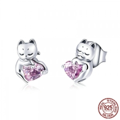New Arrival 925 Sterling Silver Cat Pussy Pink Cubic Zircon Small Stud Earrings for Women Fashion Silver Jewelry SCE453