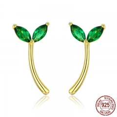Genuine 925 Sterling Silver Green Hope Tree Bud Cubic Zircon Stud Earrings for Women Fashion Earrings Jewelry BSE019