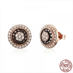 Classic 925 Sterling Silver Round Circle Gold Color Small Stud Earrings for Women Dazzling Cubic Zircon Jewelry SCE509