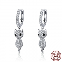 925 Sterling Silver Cute Cat Crystal Pussy Dazzling Cubic Zircon Drop Earrings for Women Sterling Silver Jewelry SCE519