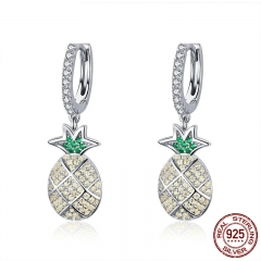 Fashion 100% 925 Sterling Silver Summer Pineapple Dazzling Cubic Zircon Drop Earrings for Women Wedding Jewelry SCE510