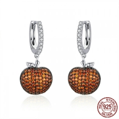 Genuine 925 Sterling Silver Small Apples Drop Earrings for Women Orange CZ Zirconia Fashion Jewelry Making SCE523