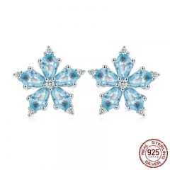 Genuine 925 Sterling Silver Blooming Snowflakes Light Blue CZ Stud Earrings for Women Fashion Silver Jewelry SCE525