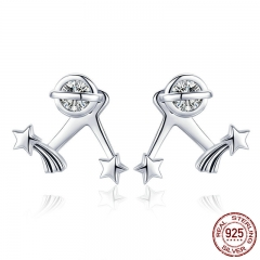 Authentic 925 Sterling Silver Exquisite Star Clear Cubic Zircon Stud Earrings for Women Sterling Silver Jewelry SCE474