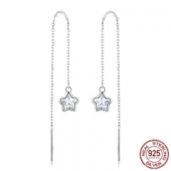 Genuine 925 Sterling Silver Shining Star Long Chain Drop Earrings for Women Clear CZ Wedding Engagement Jewelry SCE470