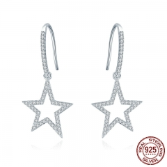 Classic 100% 925 Sterling Silver Shining Star Drop Earrings for Women Clear Cubic Zircon Sterling Silver Jewelry SCE434