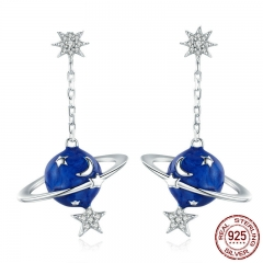 925 Sterling Silver Secret Planet Moon Star Drop Earrings for Women Clear Cubic Zircon Sterling Silver Jewelry BSE016