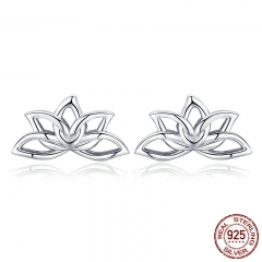 New Arrival 925 Sterling Silver Lotus Flower Stud Earrings for Women Elegant Lotus Earrings Silver Jewelry BSE024