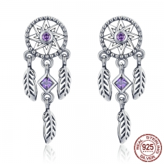 925 Sterling Silver Vintage Dream Catcher Drop Earrings for Women Purple Cubic Zircon Sterling Silver Jewelry SCE502