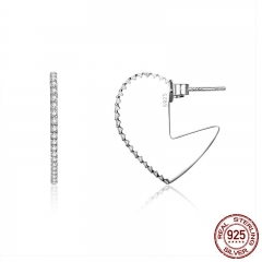 Romantic 925 Sterling Silver Valentine Heart Big Stud Earrings for Women Luminous Cubic Zircon Jewelry making SCE512