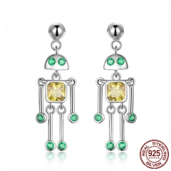 High Quality 925 Sterling Silver Little Robot Drop Earrings for Women Green Yellow CZ Sterling Silver Jewelry Gift SCE491