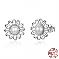 New Arrival 925 Sterling Silver Daisy Flower Freshwater Pearl Stud Earrings for Women Sterling Silver Jewelry Gift Y PSC050