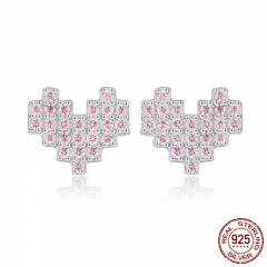 Hot Sale 925 Sterling Silver Romantic Heart Pink CZ Small Stud Earrings for Women Sterling Silver Jewelry Gift SCE472