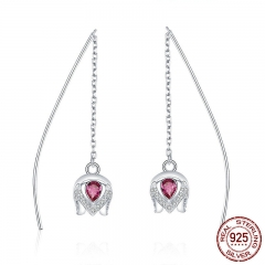 Real 925 Sterling Silver Romantic Tulip Flower Shape Drop Earrings for Women Pink CZ Sterling Silver Jewelry SCE504