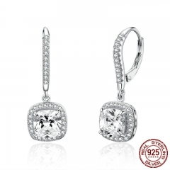 Authentic 925 Sterling Silver Dazzling Cubic Zircon Square Geometric Drop Earrings for Women Wedding Jewelry SCE520