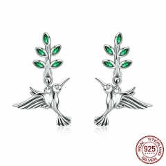 100% Genuine 925 Sterling Silver Hummingbirds Greetings Bird Stud Earrings for Women Fashion Earrings Jewelry SCE464
