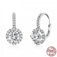 Authentic 925 Sterling Silver Dazzling Cubic Zircon Round Zircon Drop Earrings for Women Wedding Silver Jewelry PSC050
