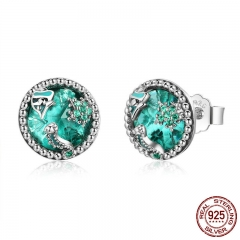 Authentic 925 Sterling Silver Ocean Tropical Fish Stud Earrings for Women Green CZ Sterling Silver Jewelry Gift SCE496