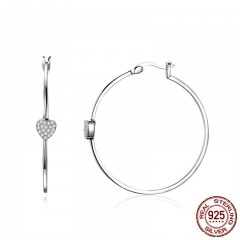 Authentic 925 Sterling Silver Big Circle Love Heart Shape Clear CZ Drop Earrings for Women Wedding Silver Jewelry SCE518