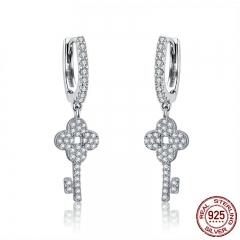 Genuine 925 Sterling Silver Clover Love Key Dazzling Crystal Drop Earrings for Women Wedding Silver Jewelry SCE521
