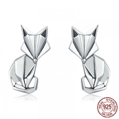 Hot Sale Genuine 925 Sterling Silver Fashion Folding Fox Animal Stud Earrings for Women Sterling Silver Jewelry SCE526