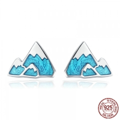 Trendy 925 Sterling Silver Unique Iceberg Small Blue Enamel Stud Earrings for Women Sterling Silver Jewelry Gift SCE475