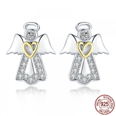 Hot Sale Genuine 925 Sterling Silver Guardian Angel Exquisite Stud Earrings for Women Fashion Silver Jewelry Gift SCE476