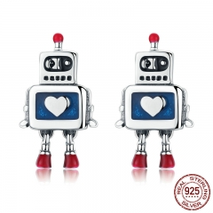 Hot Sale Genuine 925 Sterling Silver Childhood Robot Heart Stud Earrings for Women Fashion Sterling Silver Jewelry SCE477