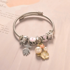 Stainless Steel Bracelet With Alloy Charms