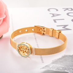 Stainless Steel Bracelet with Copper Charms BS-2034
