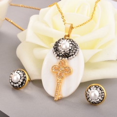 Stainless Steel Jewelry Set with Copper Charms STAO-3518