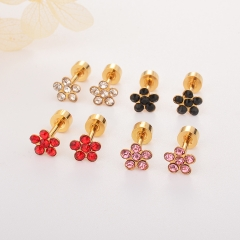 Stainless Steel Earing 3pc Black+Pink+Red Color ES-1802A