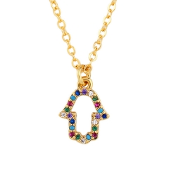 Stainless Steel Chain and Brass Pendant Necklace TTTN-0048