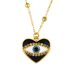Stainless Steel Chain and Brass Pendant Necklace TTTN-0103