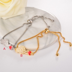 stainless steel adjustable chain copper zircon charms bracelet TTTB-0014