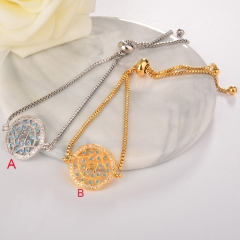 stainless steel adjustable chain copper zircon charms bracelet TTTB-0018