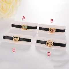 stainless steel adjustable leather jewelry copper zircon charms bracelet TTTB-0102