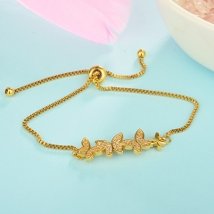 stainless steel adjustable chain copper zircon charms bracelet TTTB-0113